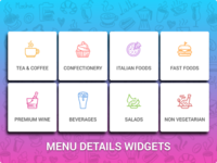 Menu details widgets for hotel Menu
