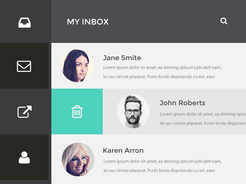 Inbox menu ui messages inbox email