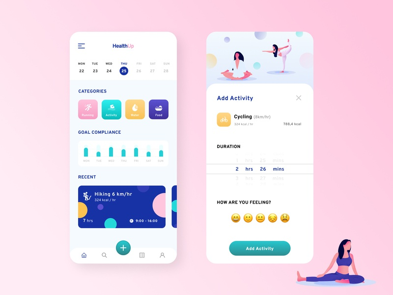 HealthUp   Health and Fitness Tracking App workout tracker health design cards menu monitoring yoga app tracking app minimal fitness app fitness health app