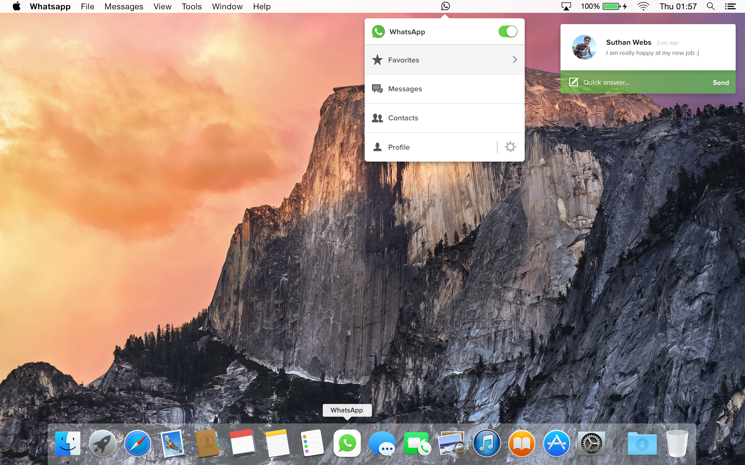 WhatsApp for Mac OS X screenshot
