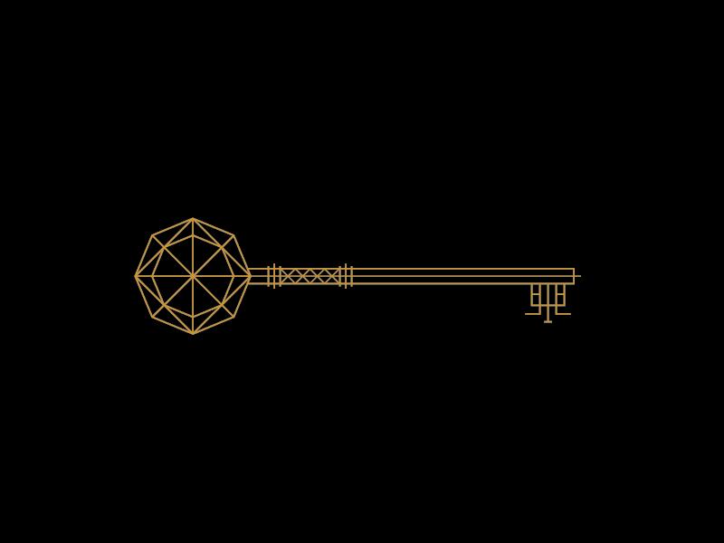 More keys.  keys gold black lines geometric platonic