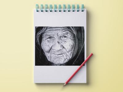 The Old Lady Pencil Sketch sketch pencil art