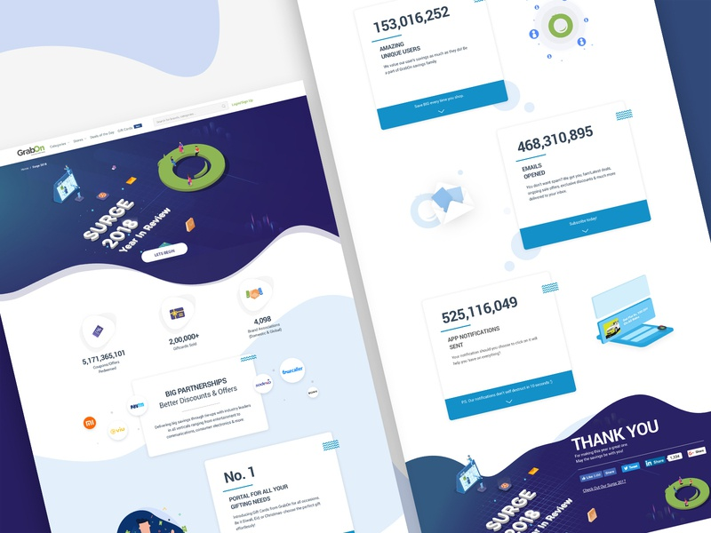 Year In Review Surge website landing page branding ux  ui interface isometric year in review report review 2018 trends