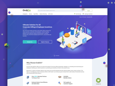 Corporate Gifting Page website ux  ui landing page interface isometric gifts bulk corporate gift card