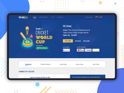 Cricket World Cup Contest contest website ux  ui interface winners player logo worldcup cricket landing page