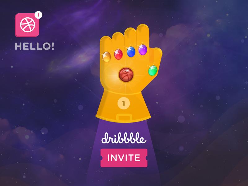 Dribbble Invite infinity logo design graphic illustration superhero thanos avengers avengersendgame invite dribbble