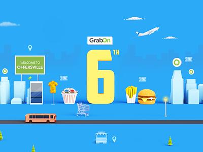 GrabOn Sixth Anniversary offers illustration branding logo mobile city electronics shopping deals coupons food 3drender render c4d blender 3d art anniversary