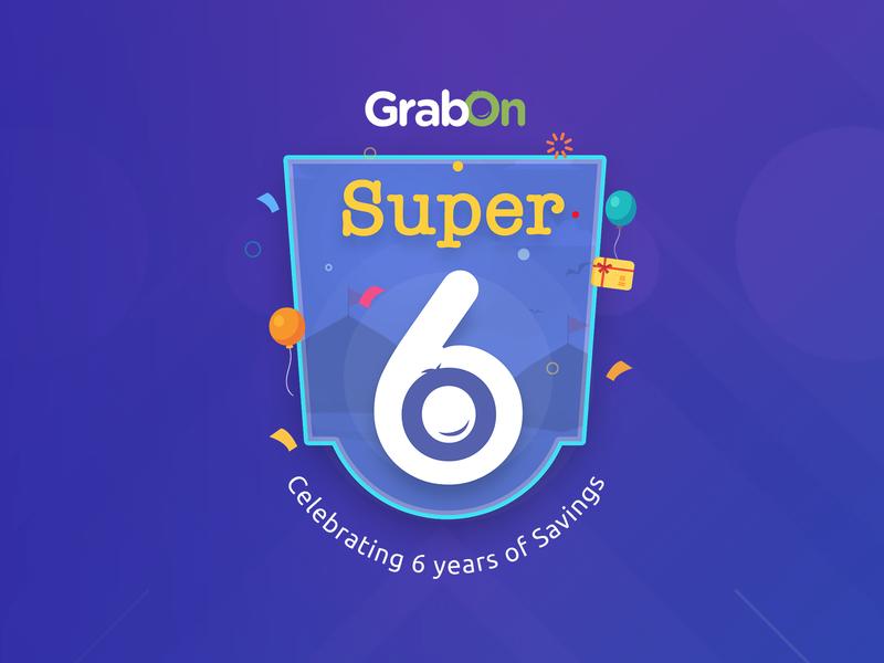GrabOn Anniversary Badge graphic six super creative badge logo anniversary branding