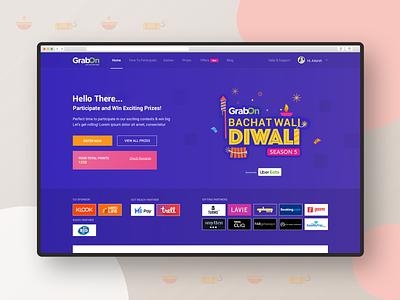 GrabOn Diwali Contest Landing Page campaign celebration festival badge logo landing page branding design user experience user interface