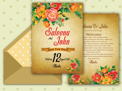 Double Sided Invitation Card Template wedding card wedding vintage template simple rsvp psd print party minimalist married