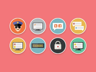 Flat icons icons flat design clean illustration flat icon moderation social media qa password tickers polls