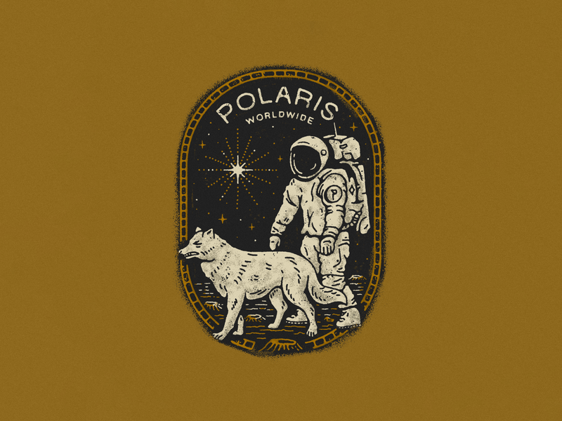 Polaris tshirt star wolf astronaut cosmos typography type vector badge branding logo illustration