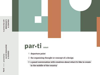 Parti event branding event branding illustration vector typography design