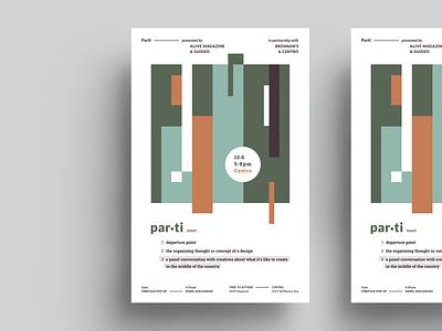 Parti poster type event branding event branding vector typography design