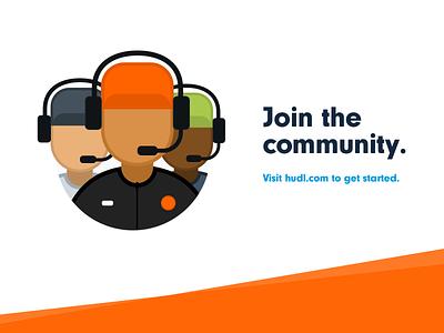 Hudl Community Illustration technology sports hudl community coaches avatar orange illustration