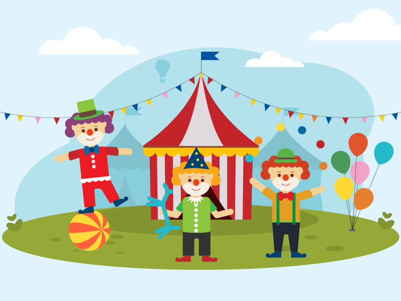 Illustration | children's song 08 clown balloon song character children drawing kids circus vector illustration