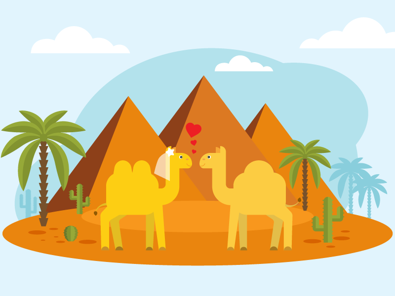 Illustration | children's song 09 illustration vector kids drawing desert love palm palm trees children character song camels