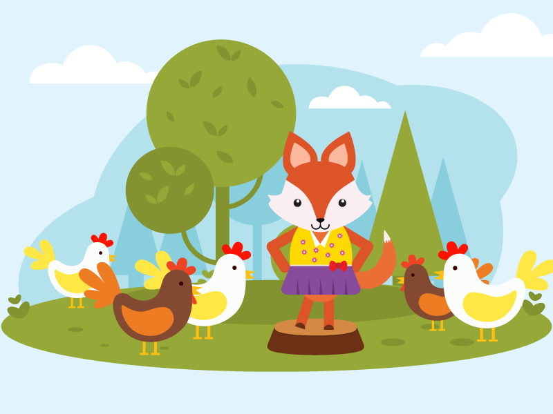 Illustration | children's song 10 garden fox song character children cocked chicken fashion drawing kids vector illustration