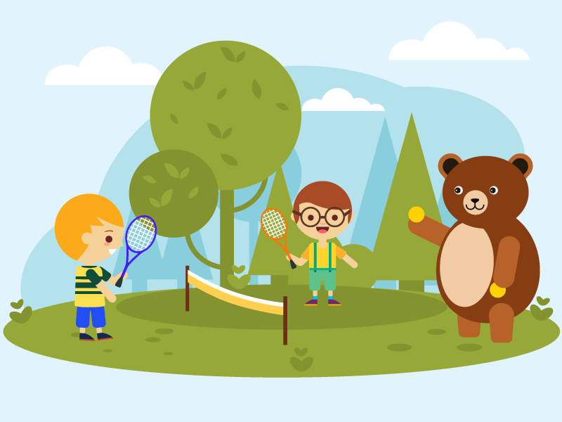 Illustration | children's song 11 ball tennis bear illustration vector kids drawing sport children teddy bear character garden