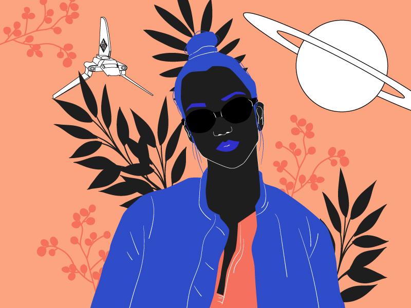 girl from F-Society #2 fever feminism design poster character drawing vector illustration flower orange girl femme society planet saturn spaceship plants blue