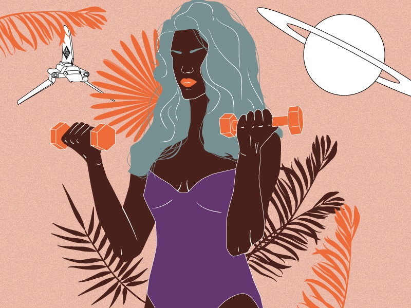 girl from F-Society #3 feminism design poster character drawing workout bikini plant spaceship saturn planet society femme girl orange illustration vector