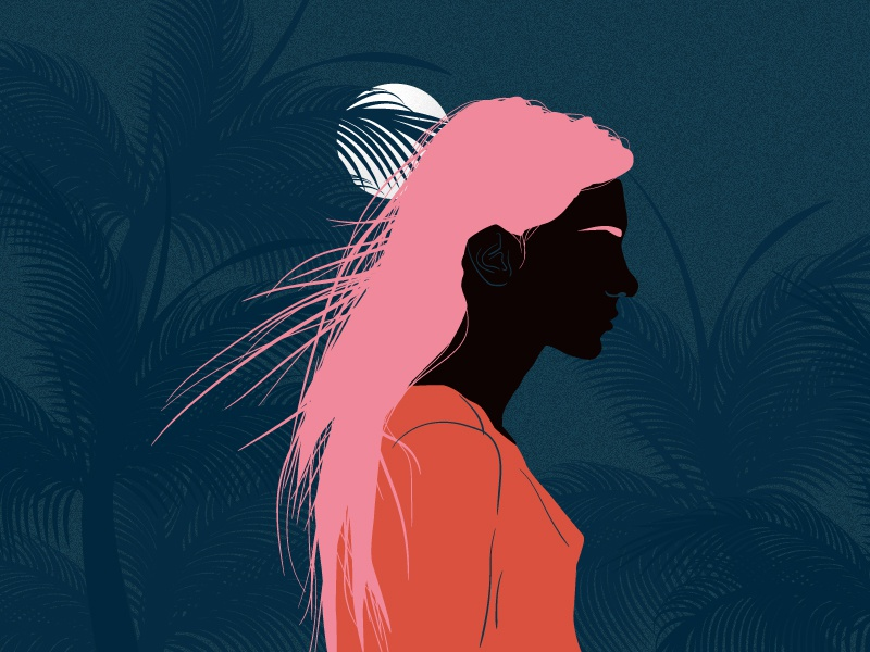 girl from F-Society #7 feminism poster society summer palm trees orange blue moon night femme girl woman illustration vector