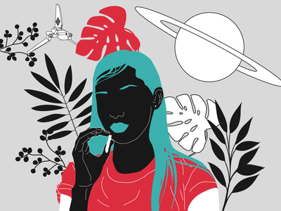 girl from F-Society #1 cigarette spaceship saturn planet femme flower woman red feminism design girl poster character drawing vector illustration