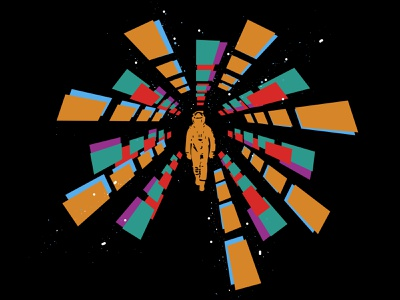 A space odyssey surreal digital art abstract pop culture iconic sci-fi film poster film movie space odyssey space cosmonaut cosmos design character drawing vector illustration