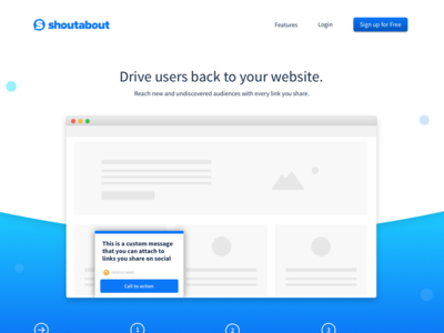 Homepage header browser notification gradient ui ux demo sneak peek ui  ux shoutabout homepage
