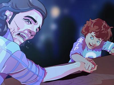 Weaker game indie illustration gameart nerd weaker armwrestling