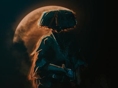 Waiting digital painting bushido ronin samurai