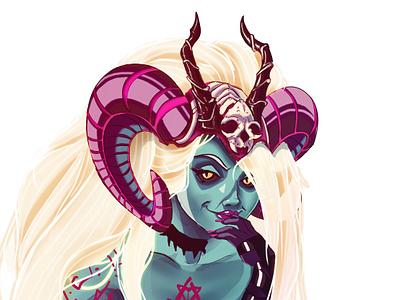 Demoness 2d illustration sexy art concept game indie design evil demon boss character villain