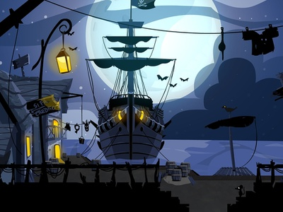 Pirate City, Waterfront flash animate animate cc cutout adventure grahic level 2d design 2d illustration video game game animation game art jolly roger pirate ship night vector art enviroment