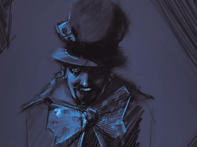 Draft for wall painting procreate illustration digital painting mad character wonderland madhatter