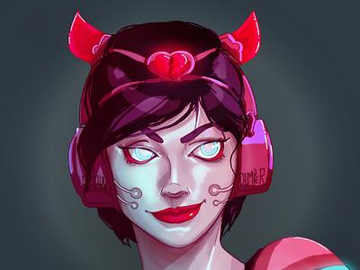 Demo Girl character design indiegame indie gameart fantasyart cyberpunk procreate