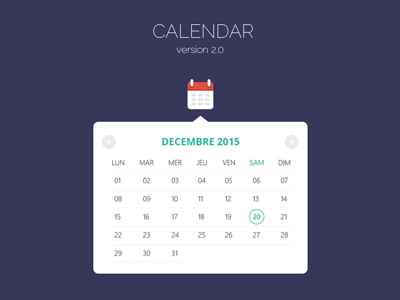 Calendar v2.0 flat design modern calendar