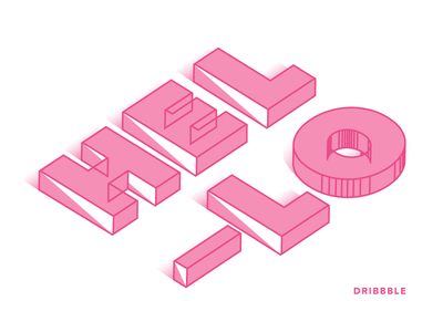 Hello Dribbble pink 3d type hello first shot debut