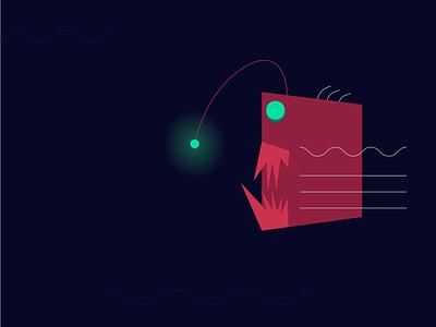 Alone in the dark geometric illustration fish creature