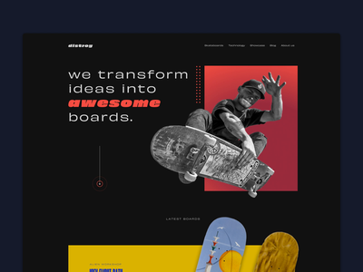 Distroy — sk8 landing page boards typography skate product page landing company skateboarding