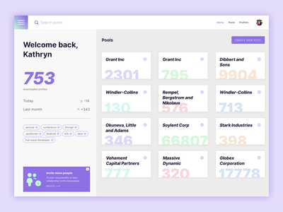 Pools — UI exploration purple bold cards pools