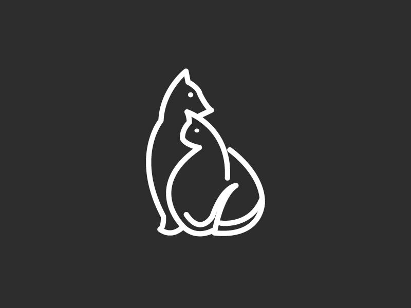 Dog And Cat weight single line cat dog illustrator squirrel simple animal logo