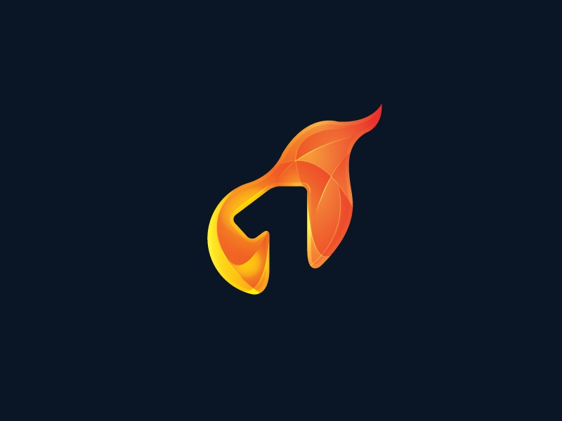 One graphic fire number gradient logo