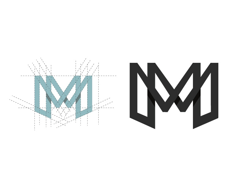MM geometric logo monochromatic monogram