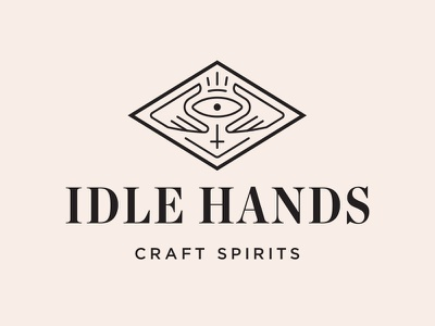 Idle Hands Logo concept eye devil spirits liquor hands logo identity