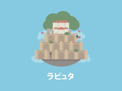 Castle in the Sky graphic illustration castle japan anime laputa ghibli