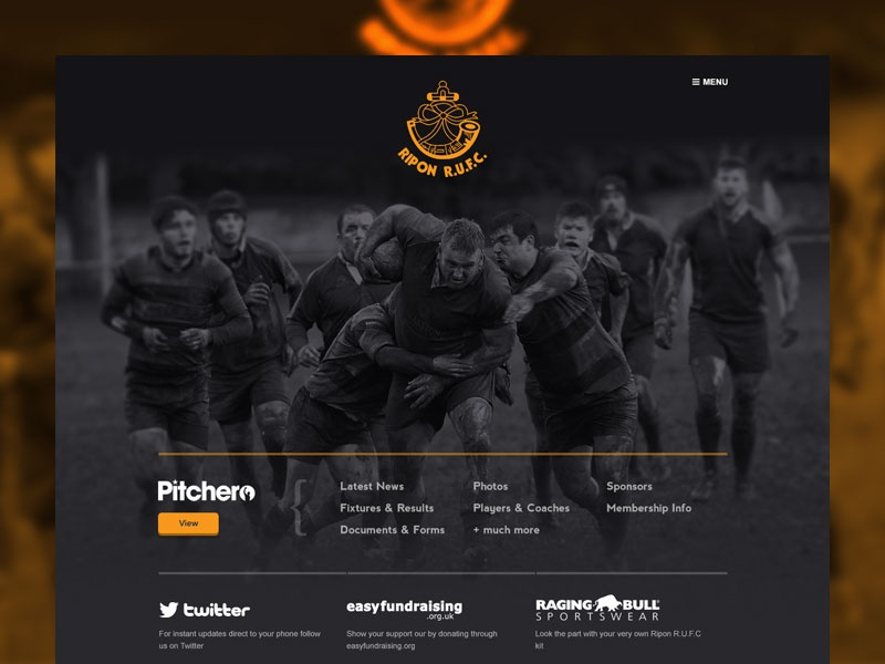 Rugby website rugby big photo simple dark yellow one page map