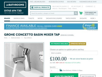 ukBathrooms Product Page responsive ecommerce product navigation
