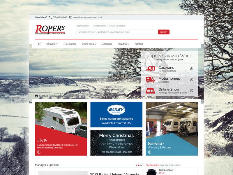 Ropers Caravan World responsive e-commerce white red clean minimal