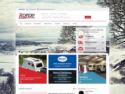 Ropers Caravan World responsive e-commerce white red clean minimal