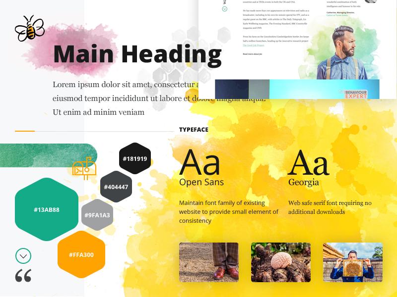 Moodboard(ish) hexagon bee website moodboard icons color typography watercolor